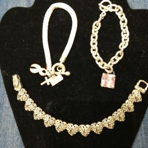 Silver and pink bracelet bundle